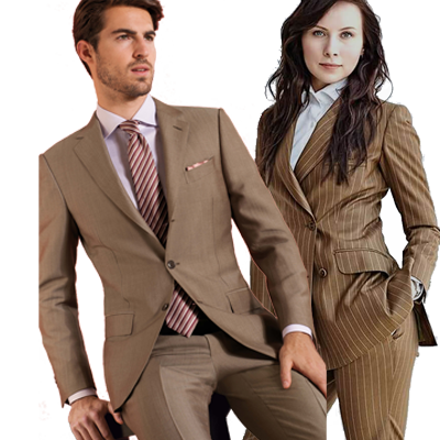 Bruin pak op maat man en vrouw