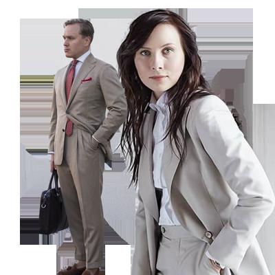Vrouw zakelijk maatkostuum beige