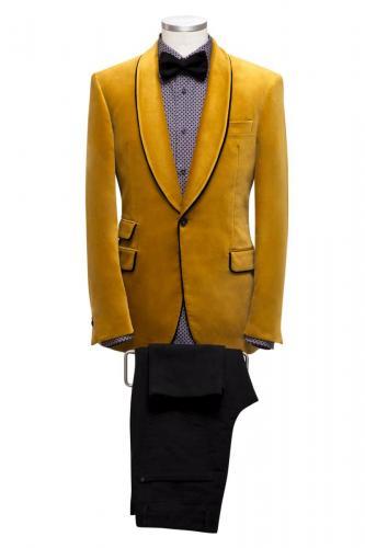 201 Smoking colbert gemaakt van velours en geel met bijpassende strik en pantalon in zwart