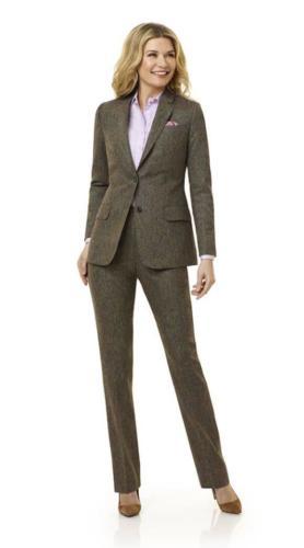 46 Zakelijk en vrouwelijk maatkostuum gemaakt van zachte flannel Green Donegal - Holland  Sherry - Sherry Tweed