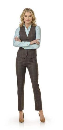 7 Gilet en broek, pantalon op maat  gemaakt van Holand and Sherry wol met cashmire in bruine ruit