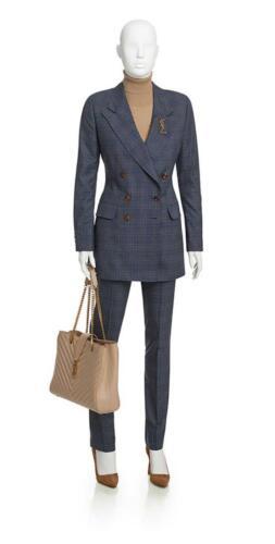 Blauwe geruit zakelijk vrouwelijk broekpak op maat gemaakt