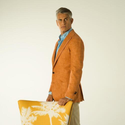 Blazer op maat gemaakt van Ariston oranje linnen