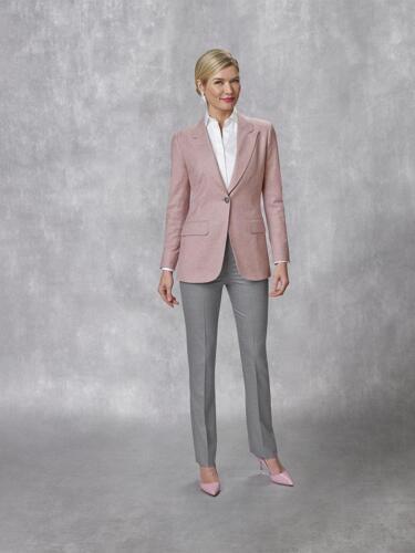 Broekpak dames zakelijk, roze colbert