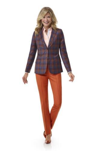 Combinatie pak dames met ruiten blazer en oranje pantalon en blouse op maat gemaakt