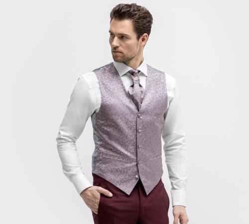 Glanzend gilet met motief en stof beklede knopen met bijpassende stropdas