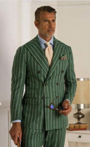 Italiaans pak op maat gemaakt van groene streep Ariston