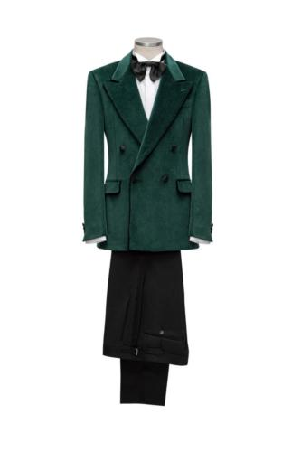 Groen velours smoking dinnerjacket met double breasted sluiting