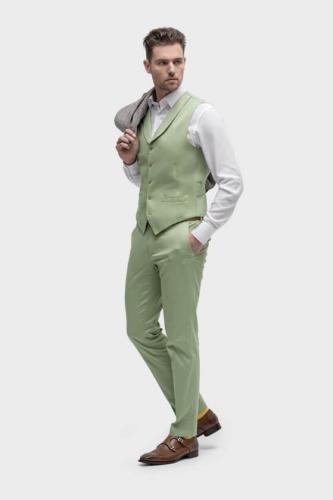 Groen zomers zakelijk maatkostuum met linnen jasje en wit katoen maathemd