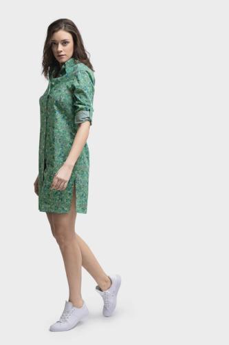 Groene blouse jurk- tuniek met zijsplitten gemaat van katoen met print