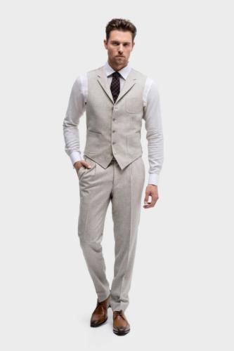 Heren pak op maat gemaakt van zachte flannel - zakelijk maatpak