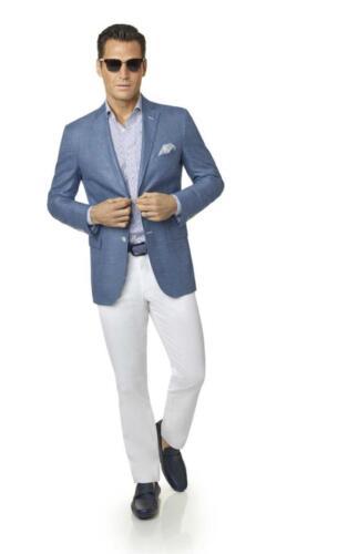 Zomer blazer blauw linnen met witte pantalon van katoen