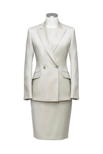 Mantelpak met jurk met mooie taillering op maat gemaakt maatkleding dames
