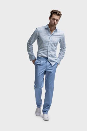 Overhemd op maat gemaakt van katoen met blauw zacht gele print