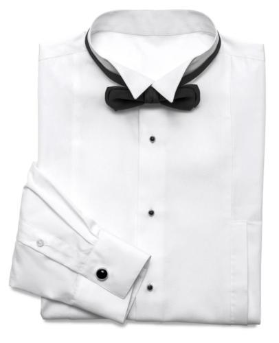 Rokkostuum overhemd gemaakt van zacht witte katoen met opstaand boord, studs en bijpassend handgemaakte strik-min