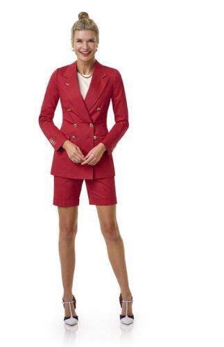 Rood dames maatkostuum met shorts en blazer in rood
