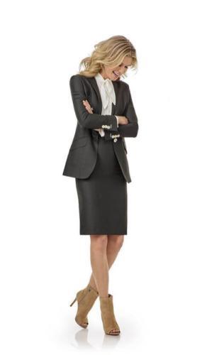 Stijlvol mantel pak met zakelijk, vrouwelijke uitstraling van glanzend antreciet soepele stof