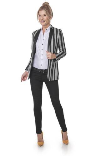 Super vrouwelijk sportief zakelijke blazer op maat gemaakt in zwart grijze streep van Holland and Sherry stof