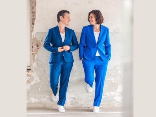 Trouwbroekpak dames in blauw