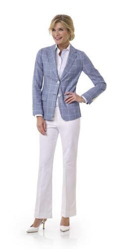 Vrouwelijk combinatie pak met blauwe blazer en witte broek