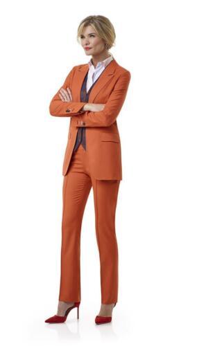 Vrouwelijk pak met gilet in oranje Holland and Sherry cool wool
