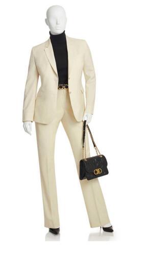 Crème dames broekpak voor naar kantoor