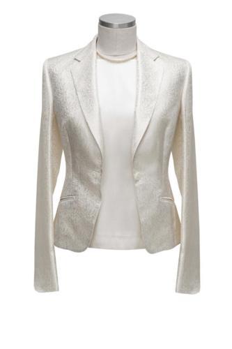 Wit glanzend feestelijk vrouwelijk colbert met paisley motief