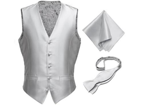 Zilver zijden gilet met pochet en strik