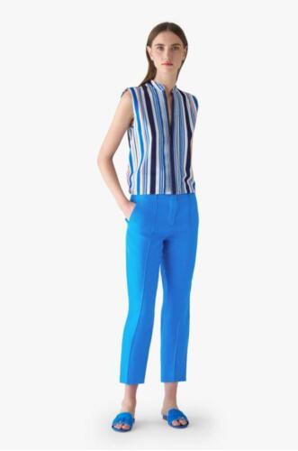 Zomerse vrouwelijke enkel broek op maat gemaakt in helder blauwe Loro Piana stof